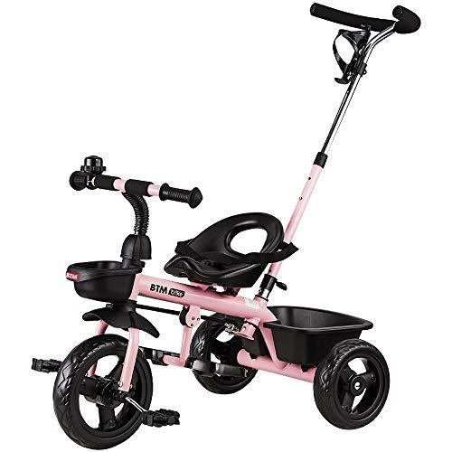 BTM 子ども用自転車 三輪車のりもの キッズバイク コントロールバー付き 乗用玩具 足けり 1年安心保証 クリスマスプレゼント (ピンク)