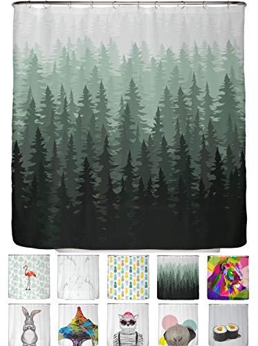 arteneur® - Tannen Wald - Anti-Schimmel Duschvorhang 180x200 - Beschwerter Saum, Blickdicht, Wasserdicht, Waschbar, 12 Ringe & E-Book mit Reinigungs-Tipps