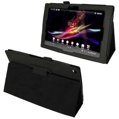 XINGCHEN Tablet PC Shell Funda de Cuero con Textura Litchi con Soporte para Sony Xperia Tablet Z / 10.1 (Rojo) Funda Protectora (Color : Black)