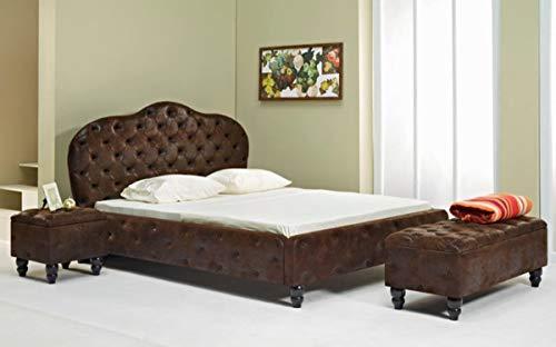 Casa Padrino Chesterfield Doppelbett Dunkelbraun/Schwarz - Verschiedene Größen - Elegantes Massivholz Bett mit Kopfteil - Chesterfield Schlafzimmer Möbel, Grösse:140 x 200 cm
