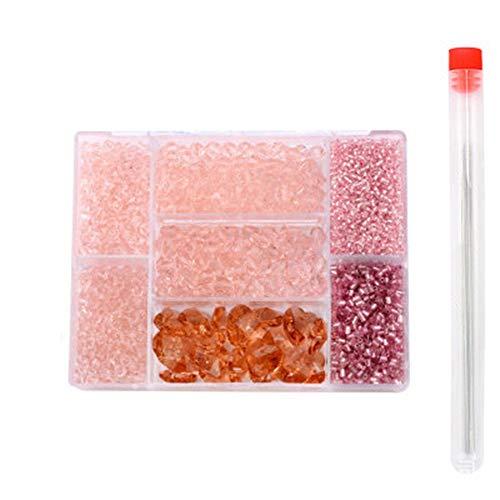 Cuasting Juego de cuentas de cristal de forma mixta, cuentas de cristal, cuentas separadas a granel, para hacer joyas, bricolaje, color rosa