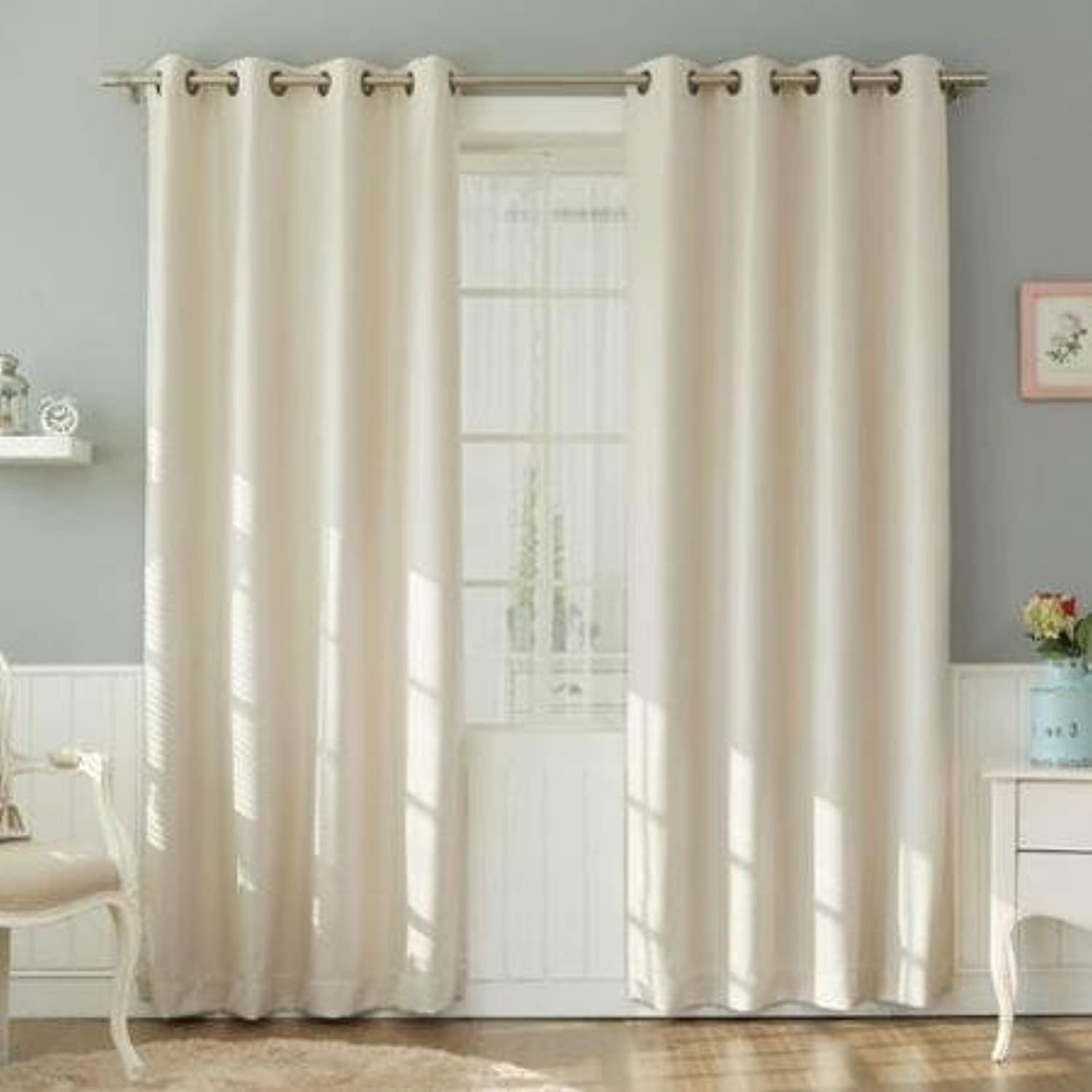 2 Panel Curtain 100% Cotton very thick material 54 Widht wise & 95 Inch Length Wise Ivory Solid