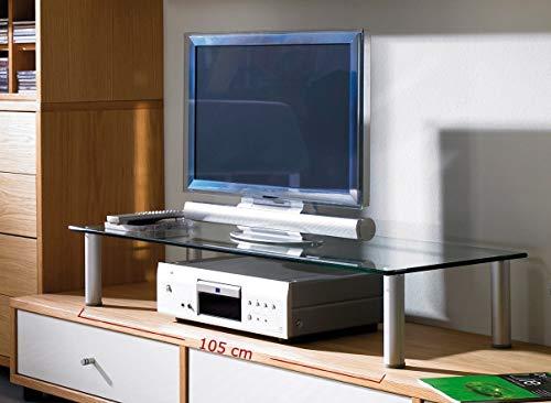"VCM Glas TV-Aufsatz ""Felino-Mini"" Silber/Klarglas - 4"