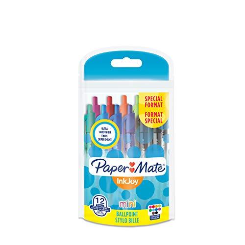 Paper Mate InkJoy 100 Mini CAP Penna a sfera con cappuccio e punta media da 1,0 mm, colori vivaci assortiti, confezione da 10+2 (1956640)