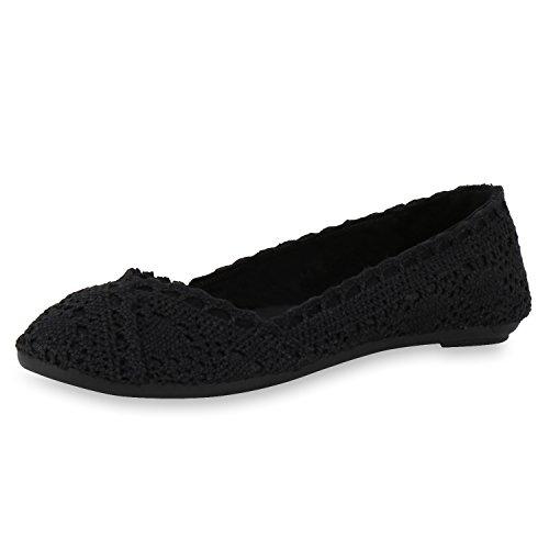 SCARPE VITA Damen Ballerinas Spitze Flats Slipper Feminine Schuhe 160488 Schwarz Spitze 36
