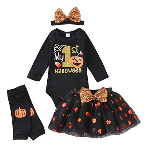 Conjunto de Estampado de Halloween de Manga Larga para Bebé Traje de Falda Tutú Mam uco + Falda Corta + Banda para Cab lo + Cubierta de Pierna