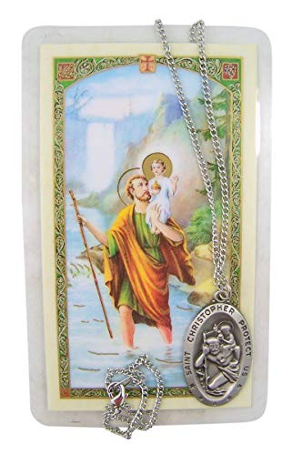 Saint Christopher Protect Us Medal Silver-Toned Medal with Prayer Card