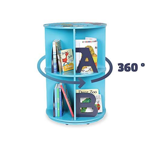 Baby Vivo Scaffale libreria di Legno 'Space' Organizzatore Giocattoli Mobiletto Girevole 360 Gradi per Bambini - Blu