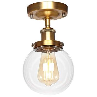 AILIN Industrial Vintage Classic Matte Bronze Semi Flush Mount Ceiling Light Fixtures, Farmhouse Lighting Clear Glass Pendant Lighting Shade, Edison Style Metal & Glass Hanging Lights 1-Light