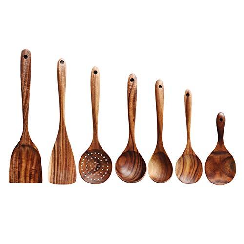 MagiDeal Juego de 7 Utensilios de Cocina de Madera con Agujeros Colgantes para Hornear, cucharas de Cocina de Teca espátula para Utensilios de Cocina