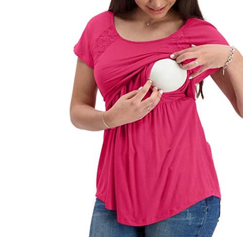 Jimmackey Donna Maglia Premaman Allattamento Maglieria per maternità Shirt Corta Maglietta Casual Top Manica Corta Vestiti Premaman Donna Estivi Abbigliamento