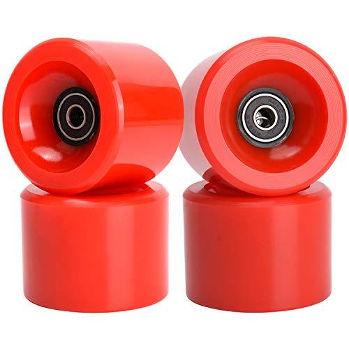 TOBWOLF Lot de 4 roues de skateboard 78A 70 mm avec roulements ABEC 9 et entretoise, roues de longboard pour rue, parc – Rouge