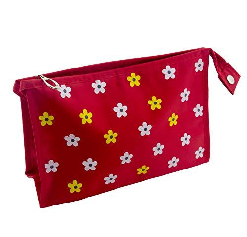 HAND® Rouge avec plumier étanche Marguerites/Sac de Maquillage avec Miroir - Square Forme 230 x 150 mm