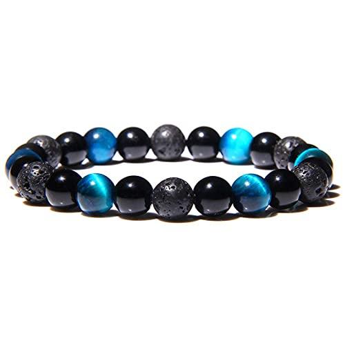 Pulsera, hecha a mano, natural, 8 mm, piedra de ojo de tigre, cuentas azules, pulsera, lava redonda, piedra volcánica, cuentas, estiramiento, moda, encanto, pulsera para mujeres, hombres, pareja, amig
