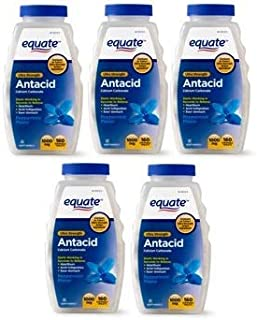 Equate Antacid Ultra Strength, 160 Chewable Tablets, 1000 Mg, Peppermint Flavor (Pack of 5)
