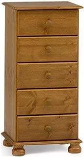 Non 10220534 - Mesilla de Madera de Pino con 5 cajones y Patas Redondeadas, Color marrón