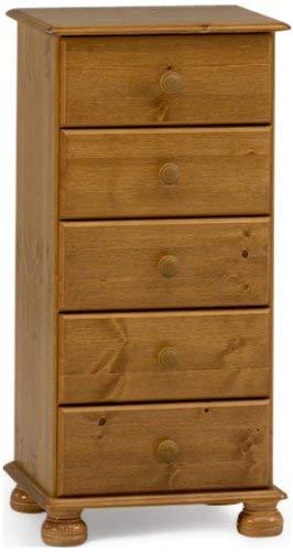 Steens Richmond Kommode, 5 Schubladen, 44 x 89 x 38 cm (B/H/T), Kiefer massiv, gelaugt lackiert