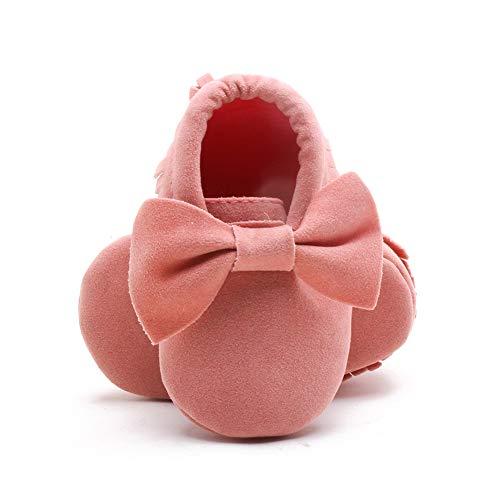 Kanghua Baby Mädchen Laufschuhe für Kleinkinder, Schleife, Quaste mit weicher Sohle, 0-18 Monate, Pink - Rose - Größe: 6-12 Monate