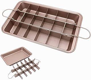 Brownie 鋼製ノンスティックベーキングパン スライサー ブラウニーパン 仕切り付き フェッショナルスライス用 カーボンスチール 金属製調理器具