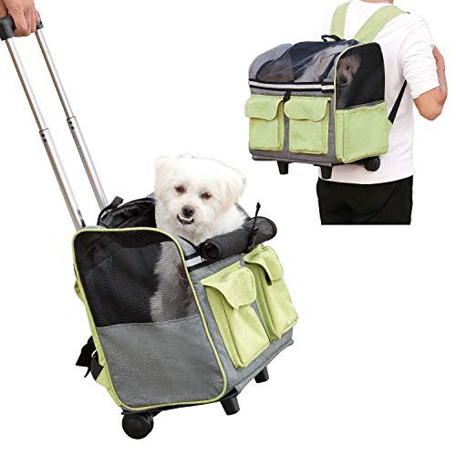 Maxmer 2 in 1 Katze Transporttrolley und Hunde Rucksäcke mit Schulterriemen und Rollen Trolley Hunderucksack für alle kleinen Haustiere ca. 5 KG wie Hunde,Welpen, Katzen usw.