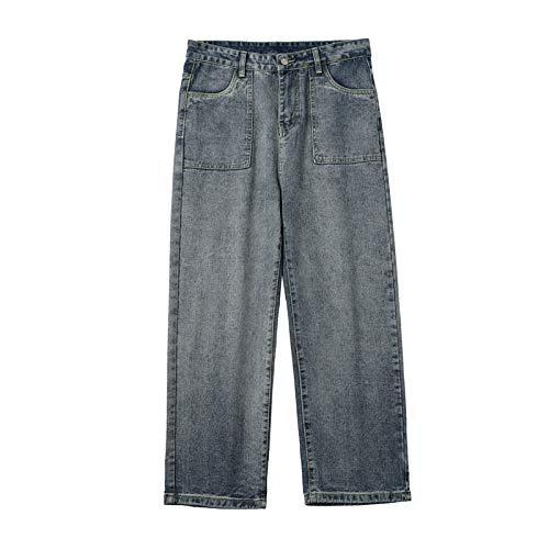 Pantalones Vaqueros para Hombres Moda Juvenil Pantalones Vaqueros Sueltos Rectos de Pierna Ancha Pantalones Vaqueros Casuales versátiles y cómodos XL