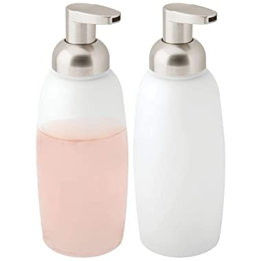 mDesign Modern Glass Refillable Foaming Soap Dispenser Pump Bottle for Bathroom Vanity Countertop, Kitchen Sink - Save on Soap - Vintage-Inspired, Compact Design - 2 Pack - Clear Frost/Satin