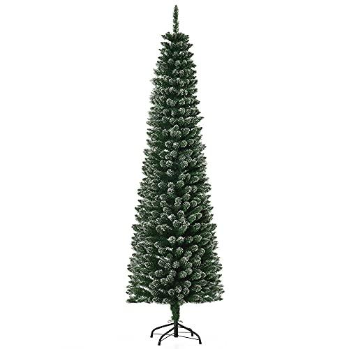 HOMCOM Albero di Natale Innevato Artificiale Alto e Stretto con 570 Rami, Base Rimovibile e Pieghevole, Φ53x195cm, Verde