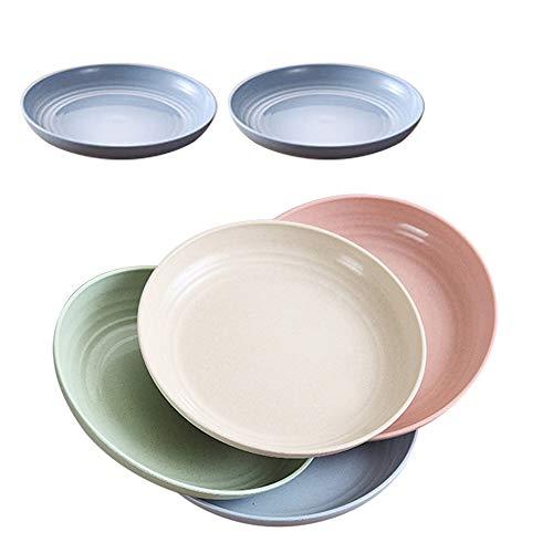 6 Stück 20 cm Weizenstroh-Teller, mikrowellen- und spülmaschinenfest, leicht, BPA-frei, Salat-/Kuchen- / Dissertteller für Baby Kinder, Kleinkinder, Anti-Fallen, ungiftig (4 Farben)