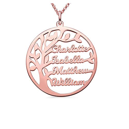 Collar con nombre personalizado Collar familiar Colgante de árbol genealógico Collar con nombre grabado para mujer(Oro rosa 22)