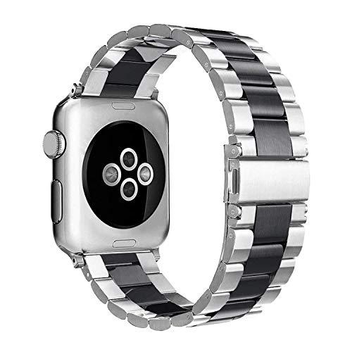 Simpeak Armband Kompatibel mit Apple Watch 44mm 42mm, Edelstahl Uhrenarmband Ersatz Armbänder mit Metallschließe Kompatibel mit Apple Watch Series 5/4/3/2/1 - Schwarz Silber