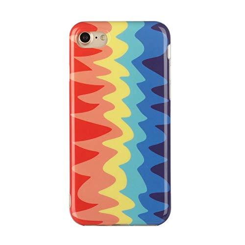 Miagon Bunt Kunst Regenbogen Hülle für iPhone 7/8,Ultra Dünn Silikon TPU Schutzhülle Handyhülle Weiche Stoßfest Anti-Scratch Cover,Welle