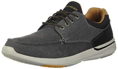 Skechers Men's Relaxed Fit-Elent-Mosen Boat Shoe,black,10.5 M US