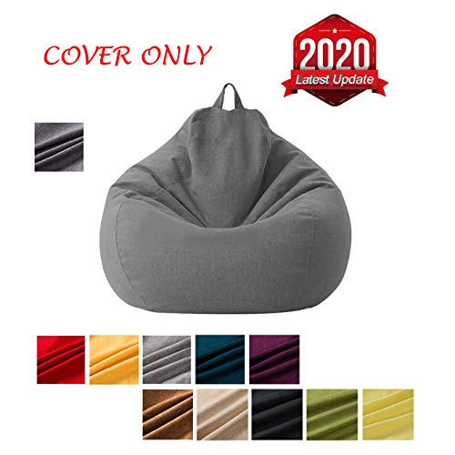 Mekiyo Bean Bag Sofa Chairs Cover, Classic Lazy Lounger Bean Bag Storage Chair for Adults and Kids for Home Garden Lounge Living Room Indoor Outdoor (Dark Gray 01, 27.531.5 in)