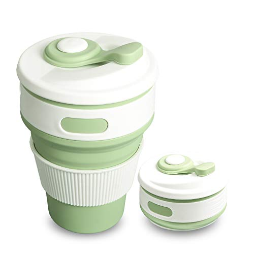 Gaming Master Collapsible Silicone Coffee Cups Hot Water Tea Cup with Heat Insulation Ring Portable Saving Space Recycle Environmentally Compress Small Size for Camping Travel Hiking Outdoor Activity