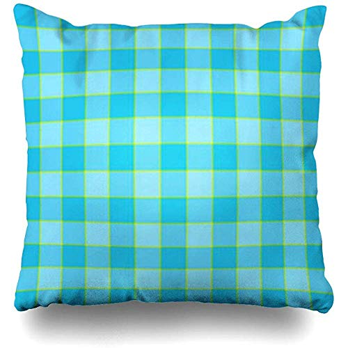 Hangdachang Beige Argyle Plaid Color Match Blue Sky Tone Classic Abstract Green Celtic Christmas Classical Throw Pillow Cover Pillowcase Home Decorative Cushion Case for Couch Bed Sofa 18 X 18 Inch