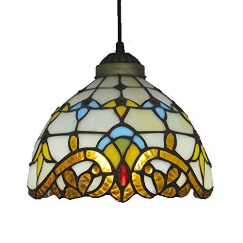 Yjmgrowing barokke Tiffany stijl mini opknoping hanglamp in retro gekleurd glas hanger plafondlamp voor eetkamer restaurant Aisle Bar Art Lighting, 110-240V, E27