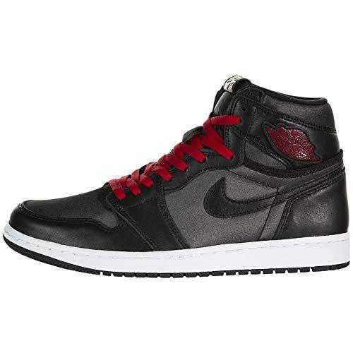 Jordan Air 1 Retro High OG, Running Shoe Hombre, Negro/Black/Metallic Silver/Rojo Gimnasio, 44.5 EU
