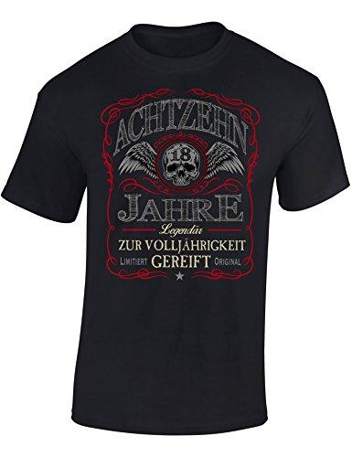 Geburtstags Shirt: 18 Jahre Legendär - Achtzehn-TER Geburtstag T-Shirt - Geschenk zum 18. - Frau-en - Mann Männer - Damen & Herren - Lustig - Birthday - Jahrgang 2002 (L)