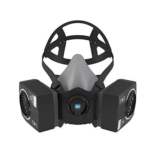 SolidWork Media máscara S/M/L incl. filtro P3   mascarilla pintura reutilizable con la menor resistencia a la respiración   Máscara antigás contra gases orgánicos, vapores y partículas