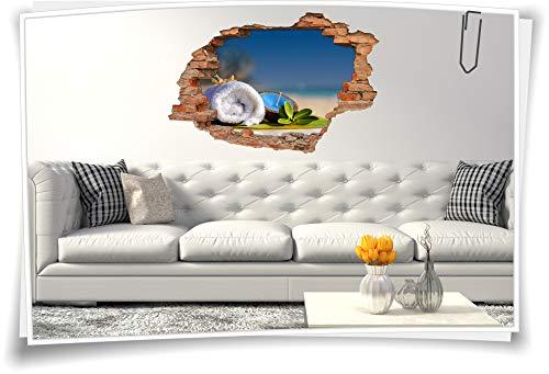 Medianlux 3D muurschildering muurtattoo muursticker SPA-wellness handdoek kaars bladeren