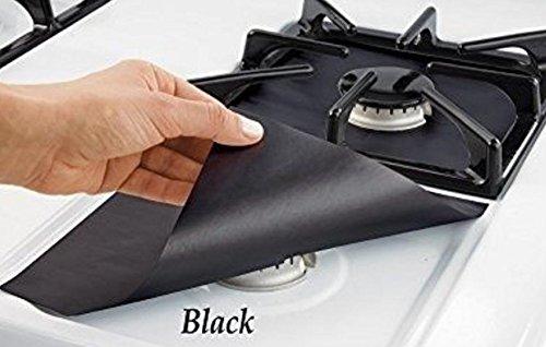 QWhing 4 Stks Gaskookplaat Oliebeschermer Liner Furnace Oppervlaktebescherming Reinigingspad -Zwart