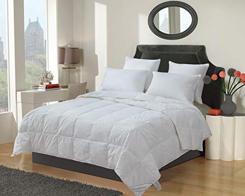 Eastwarmth豪华白鹅羽绒毯羽绒被插入预热轻量级床上用品双床/双床XL码,100%有机棉,650+填充能力