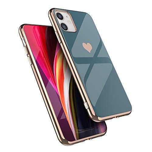 EYZUTAK Hülle für iPhone 11 6.1 Zoll, Gänzend Weiches Silikon TPU Schlanke Hülle Galvanik Herz Handyhülle Einfache Luxus Stoßfeste Schutzhülle - Grau