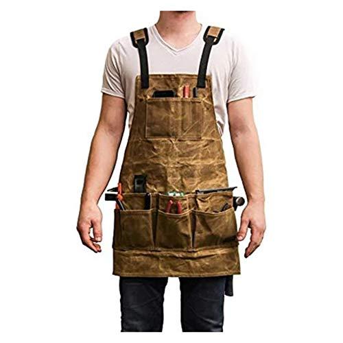 De múltiples fines Cera caliente lienzo delantal Paño de cera de aceite múltiples bolsillos con herramientas Senior Hombro Pad Chef Delantal BBQ Hombre Hombre Trabajo de trabajo para mujeres hombres