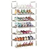 YUEBAOBEI Mueble Zapatero con Baldas, Torre Zapatos Metal 6 Niveles Nivel Estante Organizador Almacenamiento Zapatos, Gabinete Apilable, para Pasillo Sala Estar Dormitorio, Ahorro Espacio