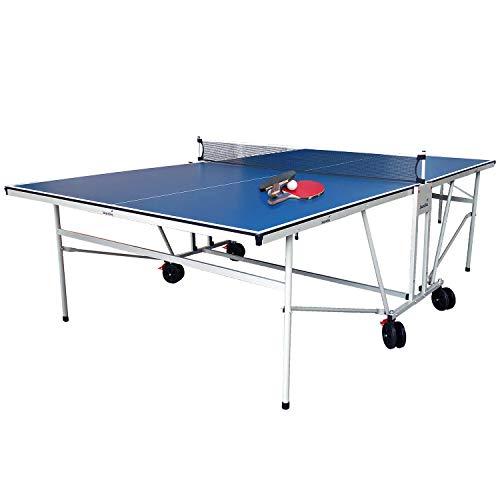 skandika Tischtennisplatte Outdoor | Stabiler Tischtennistisch mit Sicherheitsverrieglung, Transportrollen | wetterfest, wasserfest, klappbar und platzsparend | Alleintraining möglich | Inkl. Netz