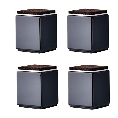 Möbelerhöher Betterhöhung Möbelerhöhung aus Karbonstahl Tischerhöher,5CM Höhe 4St Füße zur Erhöhung von Schränken, Selbstklebende Möbelfuss Sofafuss Sockelfuss Möbelgleiter,Quadrat(black40x52mm)