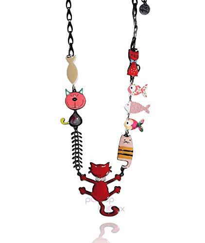Lol Bijoux Halsband Katze Fisch Rot
