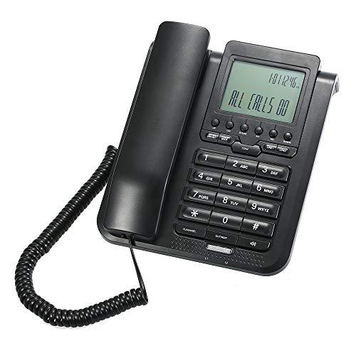 Aibecy Escritorio de teléfono con cable digital de 2 líneas Teléfono fijo con pantalla LCD Soporte Llamada de conferencia de 3 vías/Rellam.