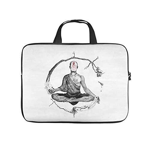 Hothotvery Bolsa para ordenador portátil, yoga, meditación, metal, música, monje, vintage, material impermeable, para portátil y tablet